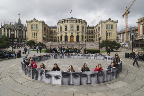 """ Afghan Eyes "" My exhibit/parole in front of Norway's Parliament ! < Stop ALL Afghan Deportations >"